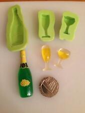Bottle and glasses silicone mould -cake decoration, fimo,-food/drink/celebration