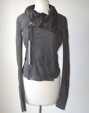 RICK OWENS Grey Washed Distressed Leather Biker Jacket 42 8
