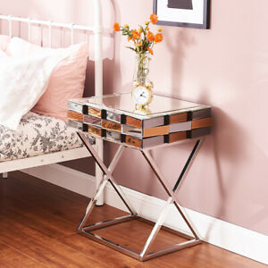 Mirrored Side Table Bedside table 3D Glass Effect Chrome Crossed Legs Furniture