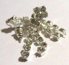 boucles d'oreilles percée bijou vintage coul argent légères cristal diamant 4567
