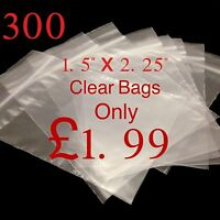 "300 Small Clear 1.5"" x 2.25"" Resealable Plastic Bags Polythene Grip Seal £1.99"