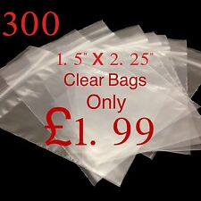 300 Small Clear 1.5 x 2.25 Resealable Plastic Bags Polythene Grip Seal £1.99