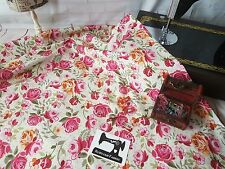 50cm x 150cm wide pink floral on cream cotton lycra 4 way stretch knit fabric