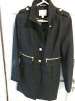 Nautica  Wool Blend Coat Size S Black Gold Button Up to Collar Zip Pockets