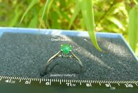 Green Jade Sterling Silver Ring Size N. UK Seller
