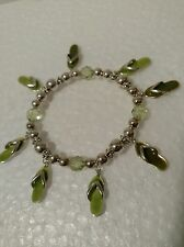 """Flip Flops Handmade Citrine and Silver Plated Beaded Bracelet fits up to 7 1/2"""""""
