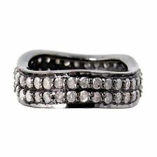 925 Sterling Silver Ring Band Natural Diamond Pave Fashion Ring Fine Jewelry CO