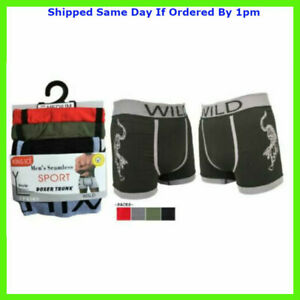 3 Pairs Mens Stretch Seamless Boxer Shorts Trunks Underpant Briefs Underwear