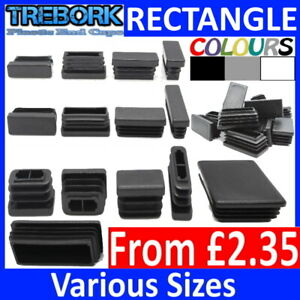 Rectangle Plastic End Caps Blanking Plugs Tube Box Section Inserts Furniture