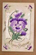 A Happy Birthday die cut air brush color pansy window,message inside, very nice