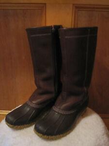 """VTG Womens LL BEAN Shearling Lined 14"""" Tall Side Zip Leather Boots Duck BROWN 9M"""