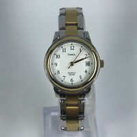 Timex Indiglo Womens Weekender CR 1216 Cell Two Tone Stainless Steel Band Watch