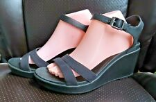 Women's Crocs Leigh II black ankle strap platform wedge sandal sz 11 M