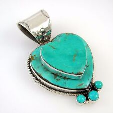 Large Dan Dodson Southwestern Sterling Silver Turquoise Double Heart Pendant  RS