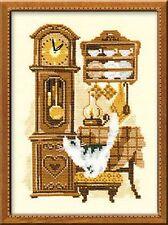 RIOLIS  858  Chat avec horloge  Broderie  Point de Croix compté
