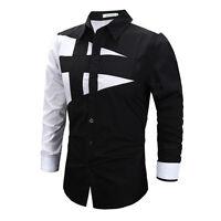 uomo elegante casual polo camicia manica lunga Formale Business Slim Maglietta