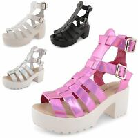 Womens Ladies Gladiator Strappy Sandals Mid Low Block Heel Cut Out Shoes Size UK