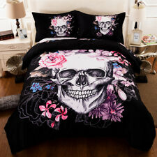 Skull Floral Doona/Quilt Cover Set Double Size Duvet Covers Pillow Cases Bed Set