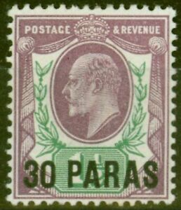British Levant 1909 30pa on 1 1/2d Pale Dull Purple & Green SG16 Fine & Fresh