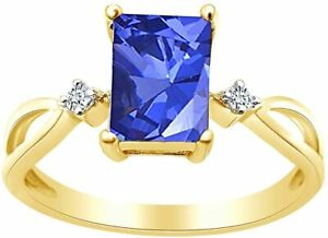 Radiant Cut Simulated Tanzanite  Solitaire Ring in 14k Yellow Gold Over Silver