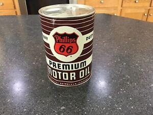 Vintage Phillips 66 metal 1 qt.  Full Origional heavy duty premium motor oil can