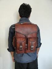 Vintage Leather Backpack Laptop Messenger Bag Convertible Satchel Shoulder Bag