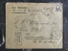 1905 Luxembourg Cover to Parnassus PA USA Red Wax Seals Registered