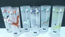 6 Vintage LIBBY Frosted Carousel Circus Animal Iced Tea Tom Collins Glasses