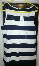 Ralph Lauren-lornetta azul marino y blanco pelados Escote Redondo Camiseta Talla L Rrp £ 69