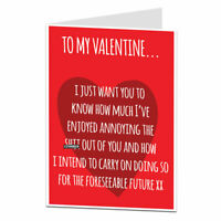 Funny Valentines Day Card For Husband Wife Boyfriend Girlfriend