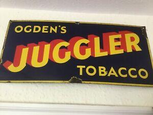 Vintage Original OGDEN'S JUGGLER Tobacco Enamel Sign - West Sussex Find