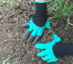 Green Garden Gloves for Digging Planting Pake with ABS Claws Gardening Gloves
