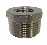 "New 304 Stainless Steel 1"" MNPT X ½"" FNPT Reducing Bushing Class 150"
