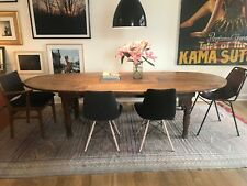 Solid Wood large dining table. Oval shape, dark brown. Good condition