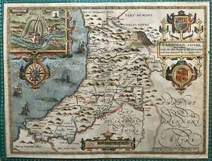 1610 Antique & Rare Map by John Speed: Cardiganshire