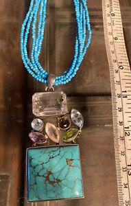 Sterling Silver With Turquoise + Gem Stones Pendant Quartz, Peridot, Aquamarine