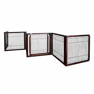 "Richell Convertible Elite Freestanding Pet Gate 6-Panel Cherry Brown 135.8"" x 29"