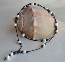 Pearls on Leather Long Necklace Lariat Wrap Bracelet Handmade Yevga 33-36''