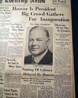 (2) HERBERT HOOVER Presidential Inauguration Inaugural Address 1929 Newspapers