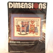 "Vtg Dimensions 1989 Stamped Cross Stitch Kit #3098 ""My Favorite Room"" 14"" x 10"""