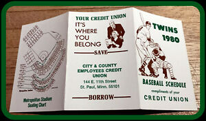 1980 MINNESOTA TWINS CITY & COUNTY CREDIT UNION BASEBALL POCKET SCHEDULE