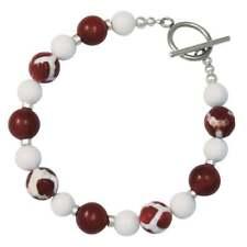 Portamento Carnelian White Jade Beaded Bracelet