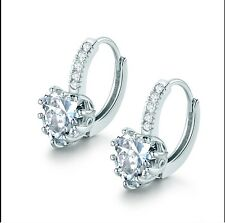 18K White Gold F Heart Earrings Made With Swarovski Crystals Bridal Jewellery