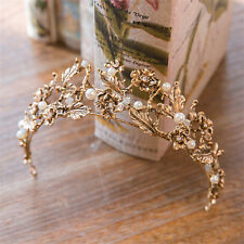 Vintage Black Gold Crown Flower Tiara Wedding Rhinestone Headpiece Hair Jewelry