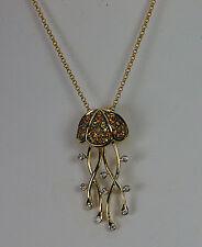 UNIQUE 14K YELLOW GOLD DIAMOND SAPPHIRE JELLYFISH FISH SEA LIFE DANGLE PENDANT