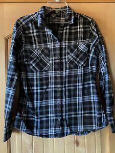 Womens Eddie Bauer Black Plaid Flannel Shirt L