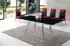 Alaska Extending Glass Dining Table Black