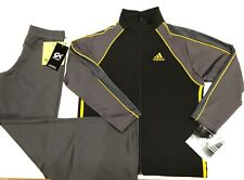 NWT ORIG $297.98! ADIDAS 2 PC WARM UP SUIT BY GK ELITE BLACK GRAY GOLD CHILD L