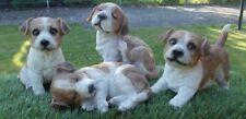 Gartenfigur Hund 4-er Set Jack Russel Terrier Welpe Haus Garten lebensecht Figur