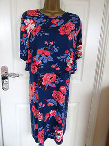 """NEW.W.T South Size UK-22 Unlined Floral Shift Multicoloured Dress BUST 52"""""""